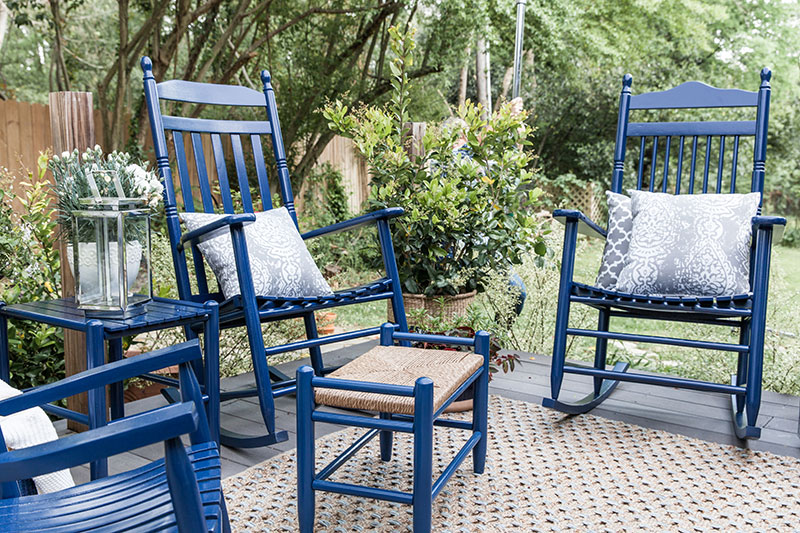 Blue Finish on Porch Furniture