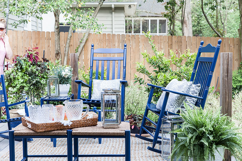 Blue rocking chairs and seating